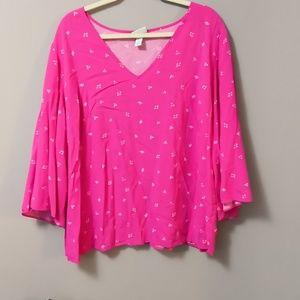 3/4 Sleeve Pink Bell Sleeved Top